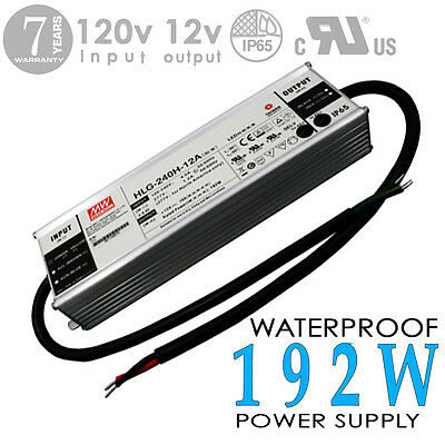 MEAN WELL -HLG -12V -240W -20A -Waterproof Outdoor Power Supply, Adapter -DC -UL