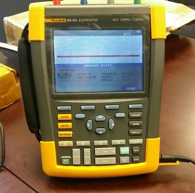 Fluke 190-104 Color ScopeMeter 4CH 100mhz 1.25GS/s w/accessories.