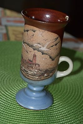 Otagiri Irish Coffee Mug Stoneware Lighthouse and Gulls