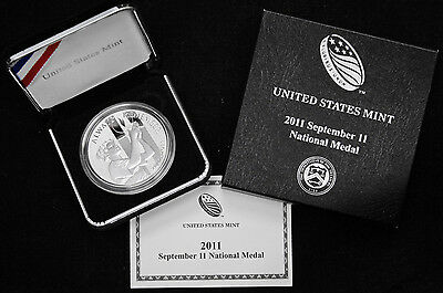 2011 W 9/11 National 1 oz Silver Medal US Mint September 11th Includes Box & COA
