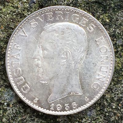 Sweden 1 Krona 1936 - BAUnc, Mint Bloom, Silver