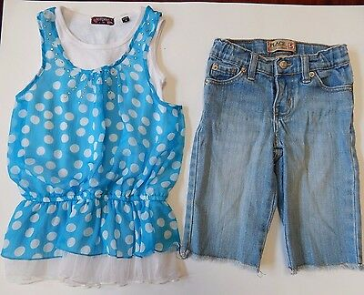 The Children's Place & Tempted Girls Outfit 2 Piece Size 5 Jean shorts and Top