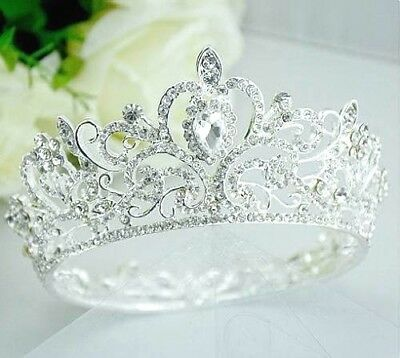 Loyal Clear Austrian Crystal Rhinestone Full Hair Crown Bridal Prom Wedding T18