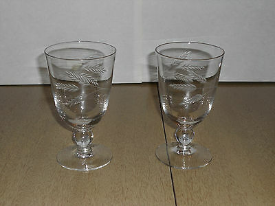 "Pair Vintage Fostoria Crystal Etched Water Tumblers - 5.75"" Tall - 1950s"