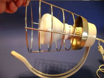 Vintage Mid Century CAGE SCONCE LIGHT Beige & Chrome 125 Volt On/Off Cord Switch