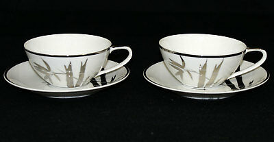 Kutani Fine China Bamboo & Platinum Porcelain Cup & Saucer Lot of 2 Sets Silver