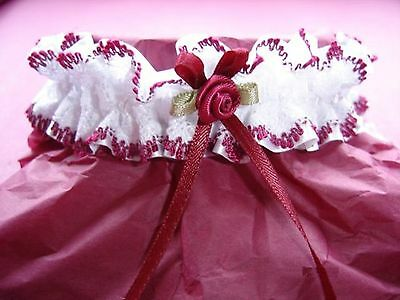 BURGUNDY Edged White LACE Wedding BRIDAL GARTER with Swarovski Beads