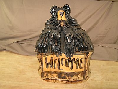 "Chainsaw Carved Black Bear Welcome Statue 16"" Tall, 12"" Wide, 6"" Deep"