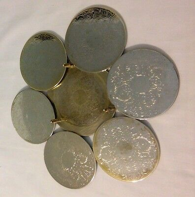Vintage Silver Plated 6 Coaster Set with Holder