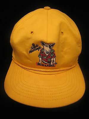 Spuds MacKenzie Bud Light Adjustable Hat - Yellow- Green Bill w/ rope