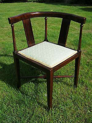 Edwardian Corner Chair - Tub Back Chair - Mahogany  - Just Recovered