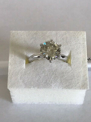 14k white gold solitaire engagement ring 1.50 carat round moissanite 6 prongs
