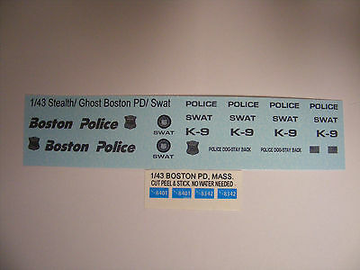 Boston Police Stealth Swat 1:43 Water Slide Decals Put on all Black Vehicles