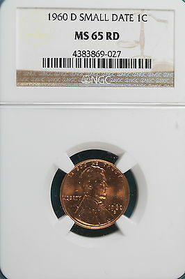 1960-D NGC MS65 RED SMALL DATE Lincoln Memorial Cent!! #E
