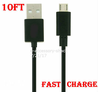 Black 10FT OEM Fast Charge Micro USB Cable Rapid Charging Sync Power Cord 22 AWG