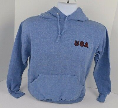 Vtg 1970's USA Soft Blue HOODIE Sweatshirt Monsanto Springfoot SMALL 34-36 NOS