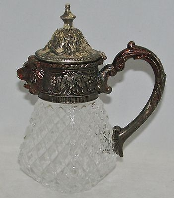 Leonard Silverplate Lion Head Spout Waffle Pressed Glass Syrup Pitcher Creamer
