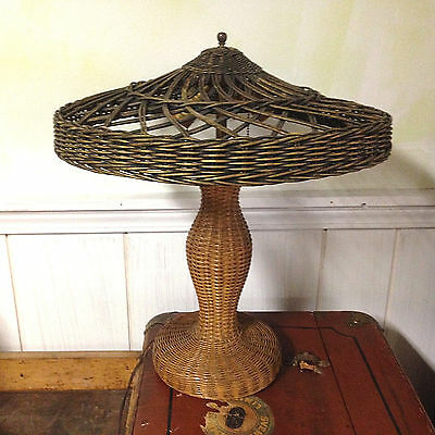 Antique Vintage Wicker Arts & Crafts Mission Table Lamp And Shade