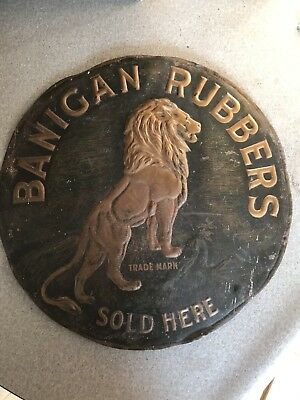 Vintage Banigan Rubbers Sold Here Trade Mark Embossed Metal Sign 1800's