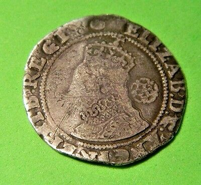 Tudor Period 1593 Elizabeth 1St Silver Sixpence Rose Beside Bust,mm Tun