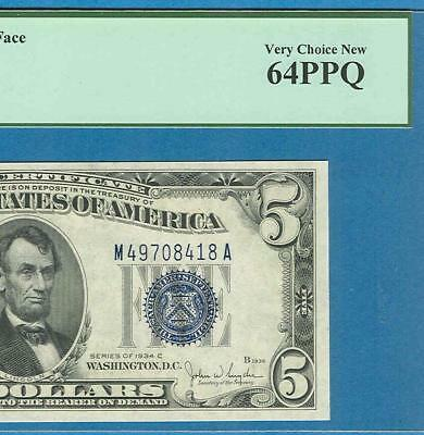 $5.00  1934-C Wide Face Silver Certificate Blue Seal Pcgs Certified Choice 64Ppq