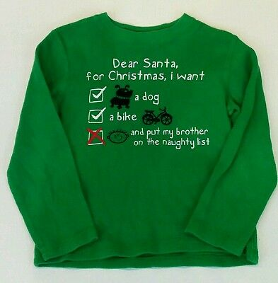 Jumping Beans Large Youth Crewneck Dear Santa Design Sweater Green