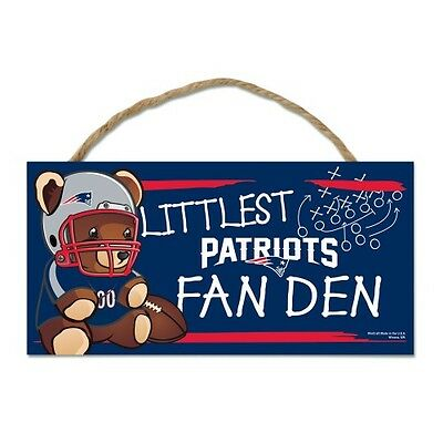 """New England Patriots Littlest Fan 5""""x10"""" Fan Cave Wood Sign Authentic Wall Decor"""