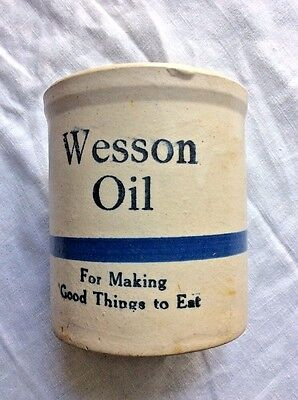 Wesson Oil Crock Vintage cobalt blue cream 5.5""