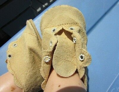 Vintage Doll Shoes Scallop Edges Baby Doll For Dy-Dee Baby, Tiny Tears Leather