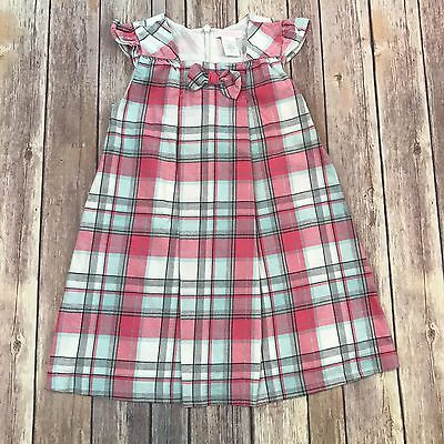 Toddler Girl's JANIE AND JACK Plaid Pink Dress SIZE 3T K-92