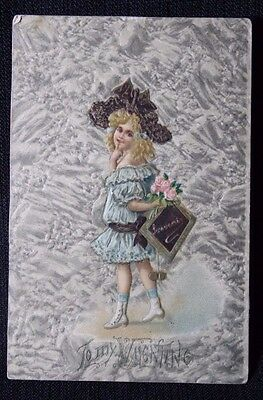 Vintage Greeting Card 1930's Valentine Sweet Victorian Girl Postcard