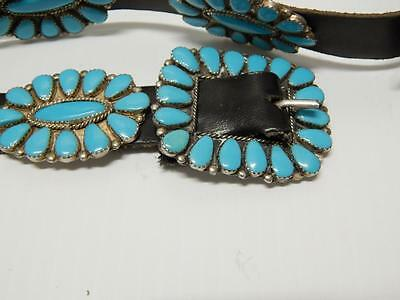 Vintage Navajo Indian Indian Sterling Silver Turquoise Cluster Concho Belt
