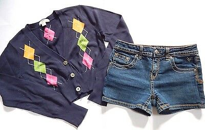 Gap & Justice Girls Outfit 2 Piece Size 14-16 JEAN SHORTS & CROPPED CARDIGAN TOP