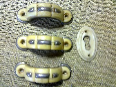 dresser handles x 3 and escutcheon, small at 6 cm long , antique or vintage