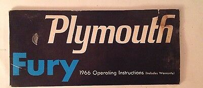 Plymouth Fury 1966 Operating Manual Including Warranty