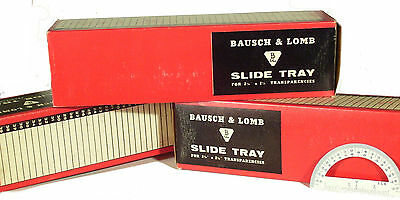 "Rare Bausch & Lomb  63-24-40 2-1/4"" 6cm 40 Count Vintage Slide Tray in Orig Box"