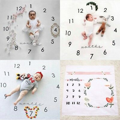 New Infant Baby Boys Girls Growing Time Wrap Infant Photography Prop Blanket Rug