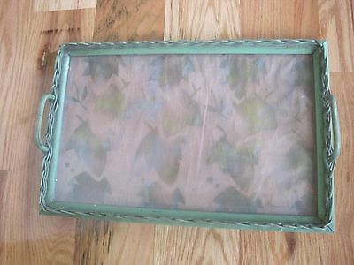 """Wicker Tray from Depression Era Painted Green Leaves 17""""x11"""""""