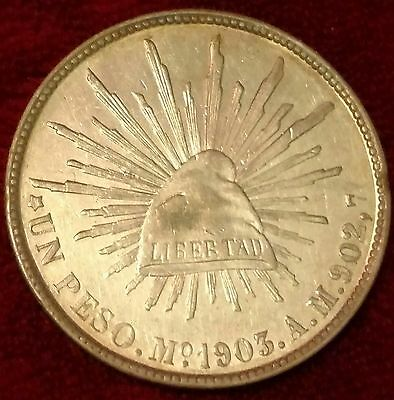 "MEXICO 1903 1 Peso Mo AM ""CAP AND RAYS"" Silver Coin XF/AU"