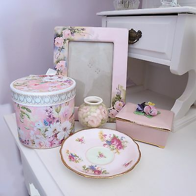 Pretty in pink mixed lot of items includes frame foley saucer trinket box vase