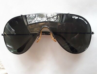 Vintage Bausch & Lomb Ray-Ban Wings Black Aviator Sunglasses Free shipping