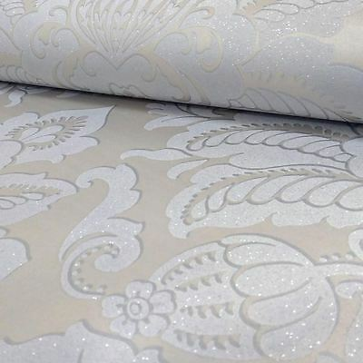 Precious Metals Glisten Damask Wallpaper - Platinum - Arthouse 673203 Wall Decor