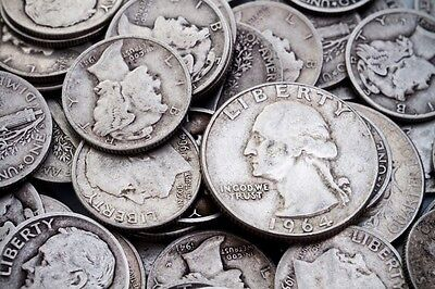 5 Standard Ounces Silver Quarters 90%. 1964 Or Earlier Coins