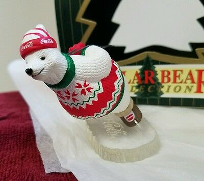 Coca Cola Polar Bear Collection Ornament Ice Skating Polar Bear 1994