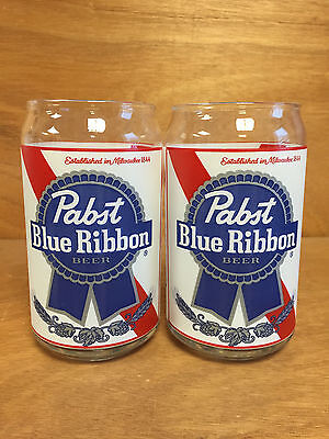 Pabst Blue Ribbon PBR Retro Can Glass Beer Glasses ~ Set of Two (2) NEW
