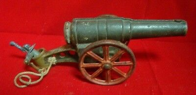 Vintage Big Bang Cast Iron Miniature Toy Cannon with Cast Iron Movable Wheels !!