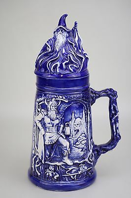 Large Vintage Old Made in Germany Wizard Viking Dragon Warrior Beer Stein Decor