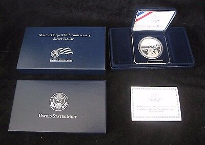 Marine Corps 230th Anniversary Silver Dollar Proof + Box & COA