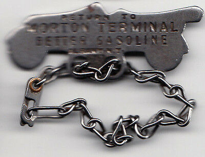 Albany N.Y. automobile figural key tag & chain - Morton Terminal,Better Gasoline