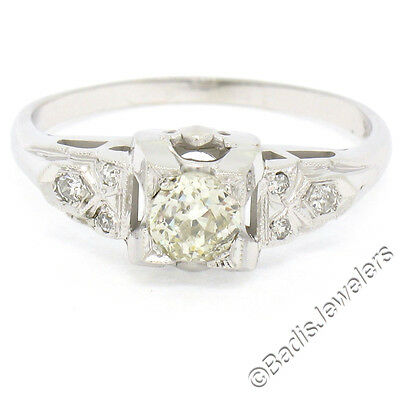 Antique Art Deco 14K White Gold .58ctw Diamond Solitaire Accents Engagement Ring